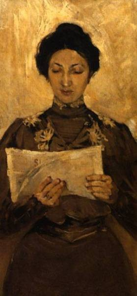 Portrait of a woman reading a newspaper